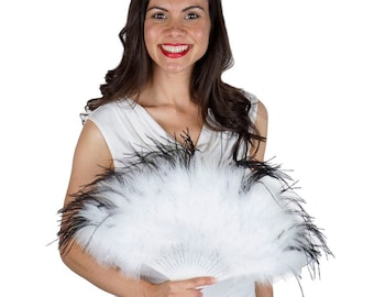White and Black Feather Fan, Small Marabou Feather Fan, Cheap Feather Fan For Photobooth, Costume Parties, Carnival & Halloween ZUCKER®