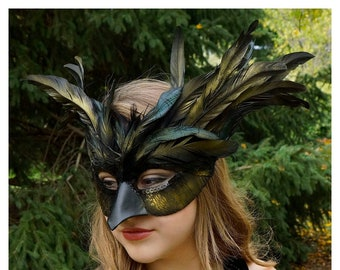 Black & Gold Raven Feather Costume Mask - Crow, Blackbird, Raven Costume, Masquerade Feather Mask for Men and Women ZUCKER®