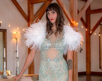 WHITE Ostrich Feather Bolero LARGE - Wedding, Prom, Special Event Feather Caplet and Shoulder CoverUp ZUCKER® Feather Place Original Designs