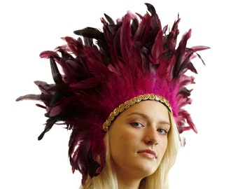 Spirit Feather Headdress PINK with Gold Details - Halloween & Carnival Costume, Festival Feather Headdress ZUCKER®