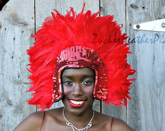 Red Feather Headdress with Sequin Details - Carnival Costume and Showgirl Feather Headdress ZUCKER®