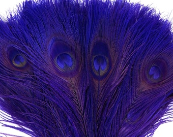 Peacock Feathers, 5 to 100 Pieces, REGAL Purple Bleached Dyed Tails, Peacock Eye Feathers ZUCKER® USA Store