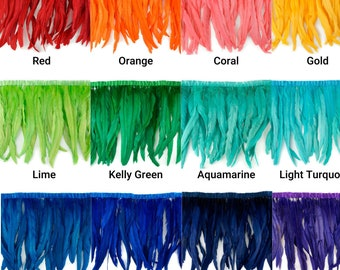 """12-14"""" Bleach Dyed Coque Feather Coque Fringe, Rooster Cock Feathers Strung, Carnival Costume, Cosplay, Millinery Supplies, Fashion  ZUCKER®"""