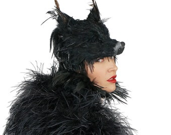 Black Wolf Costume Mask, Fox Feather Mask For Halloween Mask, Cosplay, Masquerade Ball, Festivals, Parties and Special Events ZUCKER®