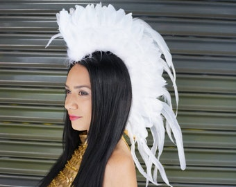 White Feather Mohawk Headdress - Carnival, Costume, Halloween, Festival Gear, Burning Man, Rave Wear ZUCKER® Feather Place Original Designs