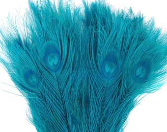 Peacock Feathers, 5 to 100 Pieces, Dark AQUA Bleached Dyed Tails 8 to 15 inches, Peacock Eye Feathers ZUCKER® USA Store