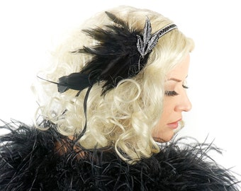 Silver Feather Headband w/Rhinestone Leaf - Great Gatsby -Harlem Nights -Roaring 20's - Costume Feather Headband & Fashion Accessory ZUCKER®