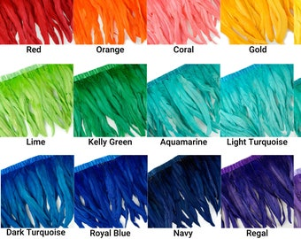 """10-12"""" Bleach Dyed Coque Feather Fringe, Rooster Cock Fringe Strung, Carnival, Cosplay, Costume, Millinery, Fashion Design Feathers ZUCKER®"""