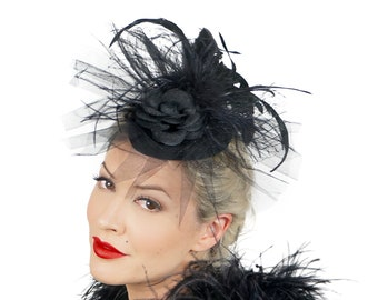 Black Feather Vintage Style Fascinator with Tulle Veil - For Costume Parties, Halloween and Special Events ZUCKER® Feather Place Originals