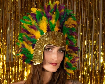 Mardi Gras Feather Headdress with Gold Sequin Details, Headdress for Festivals, Costumes, Halloween, Carnival, Masquerade Parties ZUCKER®
