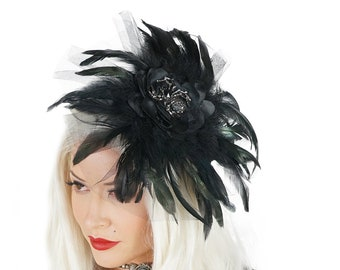Black Feather Fascinator with Rhinestone Spider Accent - For Costume Parties, Halloween and Special Events ZUCKER® Feather Place Originals