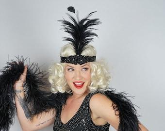 Black Flapper Headband w/Feather Spray - Great Gatsby - Harlem Nights - Roaring 20's - Costume Feather Headband & Fashion Accessory ZUCKER®