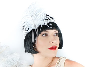 White Rhinestone Flapper Ostrich Feather Headband w/Chainlink - Special Event, Prom and Bridal Feather Headband & Fashion Accessory ZUCKER®