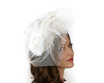 Vintage White Feather Fascinator with Tulle Veil - For Costume Parties, Halloween and Special Events ZUCKER® Feather Place Originals