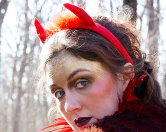Red Devil Horns with Marabou Feather Details - Red Felt Devil Horn Costume Headband - Red Devil Halloween Costume Horns ZUCKER®