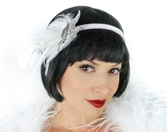 White Feather Headband w/Rhinestone Leaf - Great Gatsby -Harlem Nights -Roaring 20's - Costume Feather Headband & Fashion Accessory ZUCKER®