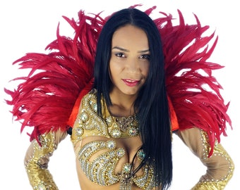 RED Carnival Feather Collars - Samba Dancewear, Feather Back Piece, Costume Accessory - ZUCKER® Feather Place Original Designs