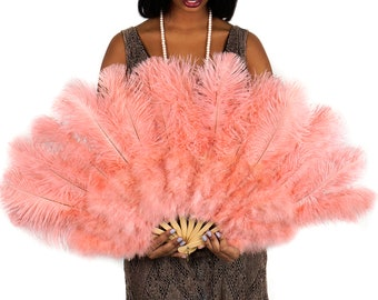 APRICOT Ostrich and Marabou Feather Fan - For Burlesque Fan Dance, Boudoir Photoshoot Accessory, Showgirl Costume & Halloween Events ZUCKER®