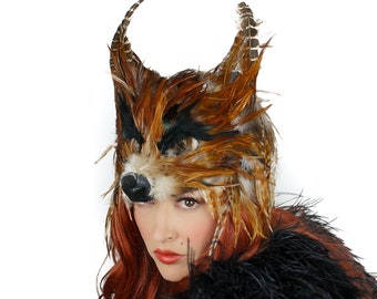 Red Fox Costume Mask, Wolf Costume Mask For Halloween, Feather Mask, Cosplay, Masquerade Ball, Festivals, Parties and Special Events ZUCKER®
