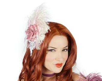 Victorian Rose Feather Fascinator with Pearl Accents - For Costume Parties, Halloween and Special Events ZUCKER® Feather Place Originals