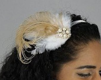 Beige & Ivory Feather Embellishment with Pearl and Rhinestone Accents - For DIY Headbands, Boutonnieres and Corsages  ZUCKER®