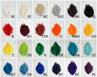 BULK Hackle Feather Pads 12 Pieces per Color - Dyed Hackle Pads per Dozen for DIY Feather Fascinator, Millinery, Costume and Carnival Design