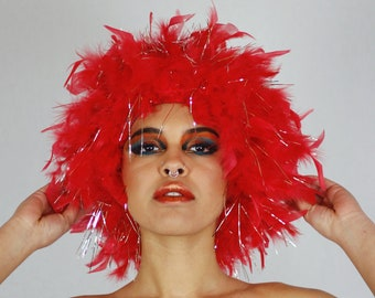 Red Feather Wig with Silver Tinsel, Dyed Chandelle Feather Feather Wig for Halloween and Carnival, Photography Props, Costume Wigs ZUCKER®