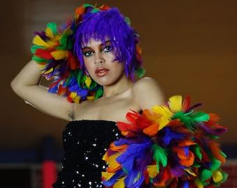 Large Rainbow Feather Boa, PRIDE Parade Feather Boa, Feather Boa for Carnival, Costume, Showgirl, Burlesque, Dance & Photography ZUCKER®