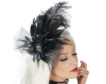 Black Feather Fascinator with Rhinestone Skull - For Costume Parties, Halloween and Special Events ZUCKER® Feather Place Originals
