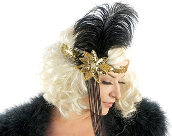 Gold Flapper Feather Headband w/Tassel - Great Gatsby - Harlem Nights - Roaring 20's - Costume Feather Headband & Fashion Accessory ZUCKER®