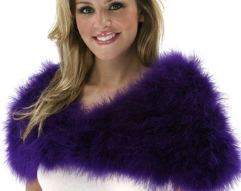 REGAL Fancy Marabou Feather Shawl w/Front Hook Closure For Special Events & Costume Parties ZUCKER® Feather Place Original Designs