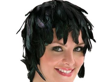 Black Feather Wig, Dyed Rooster Schlappen Feather Wig, Costume Feather Wig for Halloween & Carnival, Photography Props, Costume Wigs ZUCKER®