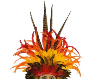 Empress Sun Feather Costume Headdress for Carnival & Samba - ZUCKER® Feather Place Original Designs - Unique Fantasy Costume Dance Wear