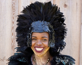 Black Feather Headdress with Sequin Details - Carnival Costume and Showgirl Feather Headdress ZUCKER®