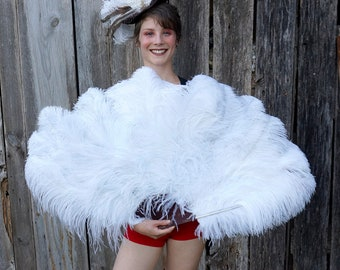 WHITE Large Ostrich Feather Fan - For Burlesque Fan Dance, Showgirl Costume, Boudoir Photoshoots & Halloween Accessories ZUCKER®