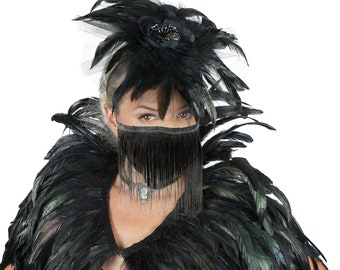 Black Feather Fascinator with Rhinestone Spider Accent and Ombre Black & Grey Fringe Mask for Halloween ZUCKER®