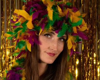 Mardi Gras Feather Wig, Dyed Chandelle Feather Wig, Costume Feather Wig for Halloween and Carnival, Photography Props, Costume Wigs ZUCKER®