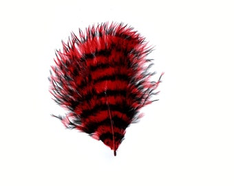 Red & Black Stenciled Marabou Feathers, Loose Turkey Marabou Feathers, Short Soft Fluffy Down, Art and Craft, Fly Fishing Supply ZUCKER®