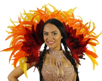 Empress Sun Feather Costume Backpiece for Carnival & Samba - ZUCKER® Feather Place Original Designs - Unique Fantasy Costume Dance Wear