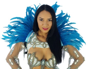 DK. TURQUOISE Carnival Feather Collars - Samba Dancewear, Feather Back Piece, Costume Accessory - ZUCKER® Feather Place Original Designs
