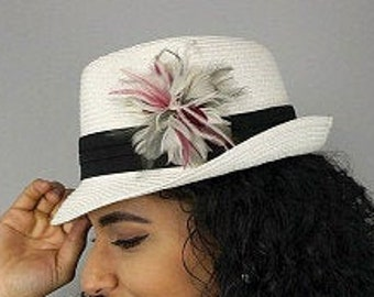 Pink and Silver Feather Flower Corsage with Felt Back - For DIY Headbands, Hat & Lapel Trim, Hair Accessory or Corsages ZUCKER®