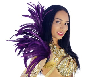 PURPLE Carnival Feather Collar - Samba Dancewear, Feather Back Piece, Costume Accessory - ZUCKER® Feather Place Original Designs