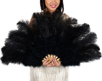 BLACK Ostrich and Marabou Feather Fan - For Burlesque Fan Dance, Boudoir Photoshoot Accessory, Showgirl Costume & Halloween Events ZUCKER®