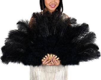 BLACK Ostrich and Marabou Feather Fan - For Burlesque Fan Dance, Boudoir Photoshoot Accessory, Showgirl Costume & Halloween Events ZUCKER™