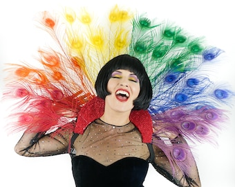 RAINBOW 3 in 1 Majestic Peacock Collar, Headdress, Bustle For Halloween, Masquerade & Costume Balls ZUCKER® Feather Place Original Designs