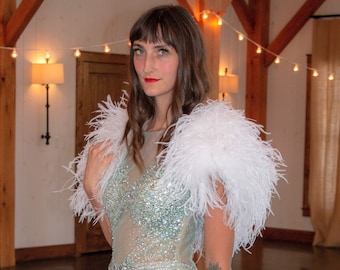Ostrich Feather Bolero MED. White for Wedding, Prom, Special Event Feather Caplet & Shoulder Cover-Up ZUCKER® Feather Place Original Designs