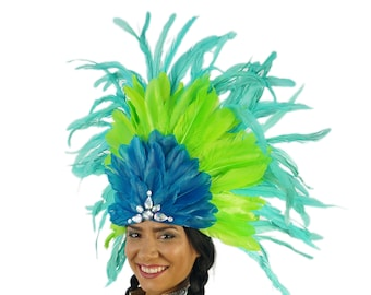 Carnival Princess Feather Costume Headdress - Unique Fantasy Costume Dance Wear for Carnival & Samba ZUCKER®  Feather Place Original Designs