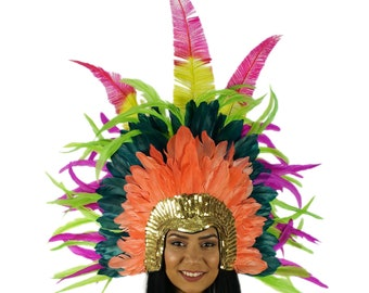 Tropical Storm Carnival and Samba Feather Costume Headdress ZUCKER™ Feather Place Original Designs - Unique Fantasy Costume Dance Wear