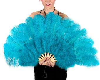 DK AQUA Ostrich and Marabou Feather Fan - For Burlesque Fan Dance, Boudoir Photoshoot Accessory, Showgirl Costume & Halloween Events ZUCKER®