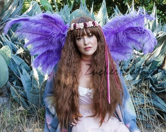 Lavender Angel Fairy Costume Ostrich Feather Wings - ZUCKER® Feather Place Original Designs - Unique Premium Fantasy Costume & Cosplay Wings